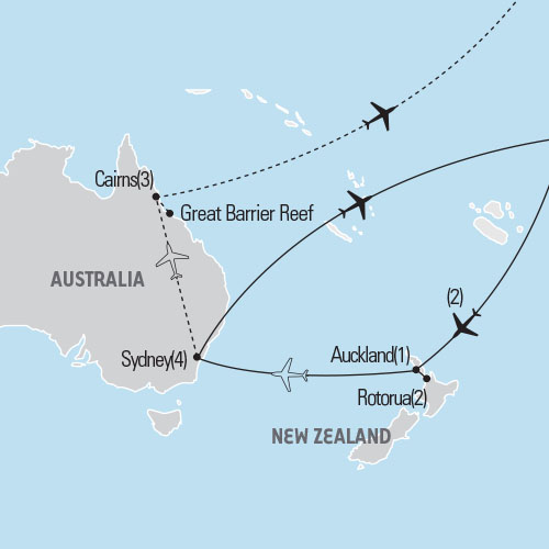 Map of Australia & New Zealand tour