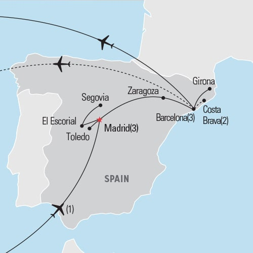 Map of Madrid & Barcelona tour